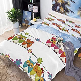 3 Piece Bedding Set,Cute Angry Amusing Owls Eyes Sitting on a String of Flowers Branch Birds Decor Decorative,Full Size,Include 1 Quilt Cover+2 Pillow case