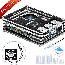 GeeekPi Acrylic Case for Raspberry Pi 4 Model B, Raspberry Pi Case with Cooling Fan & 4PCS Heatsinks for Raspberry Pi 4 Model B(Only for Pi 4) (Black and Clear)