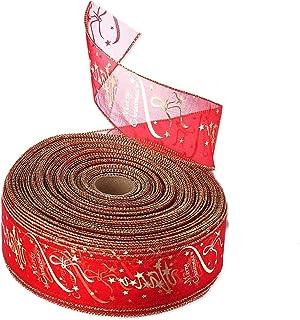 Swirl nastro di organza 2 metri Bianco con rosso 5 METRI