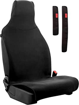 Lusso Gear Waterproof Car Seat Cover - Repels Sweat & Liquids, Odor-Resistant, Protects Seats, Fits All Cars, Cover Stays Firmly in Place, Slips On/Off Easily, Airbag-Compatible, Machine Washable: image