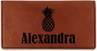 Pineapples Leatherette Checkbook Holder - Single Sided (Personalized)