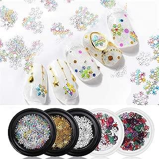 Drasawee 5 Boxes Nails Decoration Christmas Snowflakes Nail Sticker Nails Art Decoration DIY Ultrathin Nail Sequins