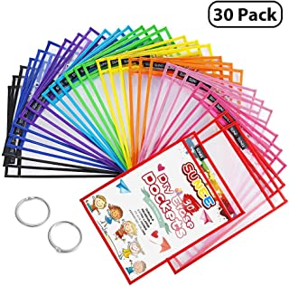 SUNEE Dry Erase Pockets 30 Pack - Reusable & Oversized 10