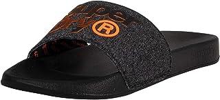 Superdry Lineman Pool Slide, Tongs homme - Multicolore (Black/Black Grit/Hazard Orange W2j), 44/45 EU