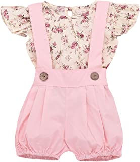 Newborn Baby Girl Clothes Floral Short Sleeve Footless Romper Jumpsuit Cotton 6-12 Months