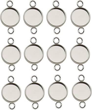 Silver Circle Connector 26x22x0.80mm Findings 24 Antique Silver Plated Brass Circle Connectors With 2 Holes D743 H774