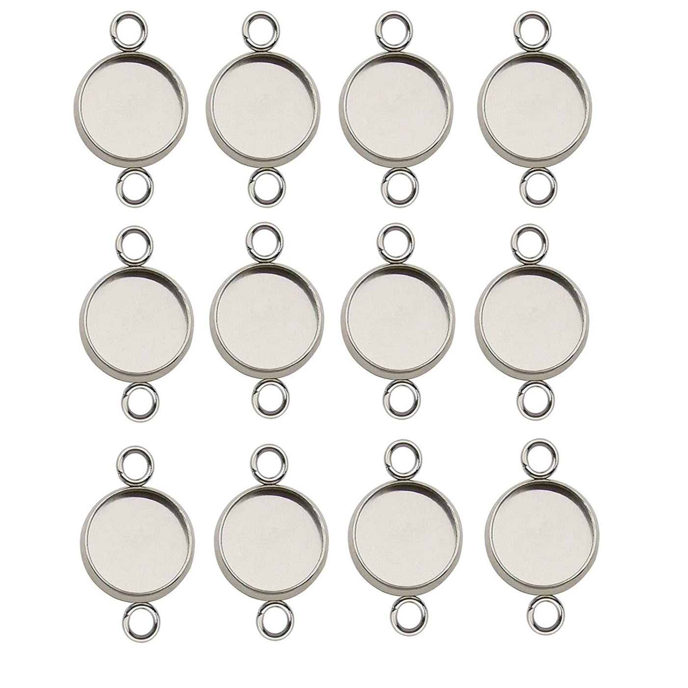 50pcs 10mm Stainless Steel Round Blank Bezel Pendant Connector Trays Base Cabochon Settings Trays Pendant Blanks Links for Jewelry Making DIY Findings (9843)