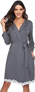 Womens Robe Soft Short Kimono Bathrobe Sleepwear with Lace Decor