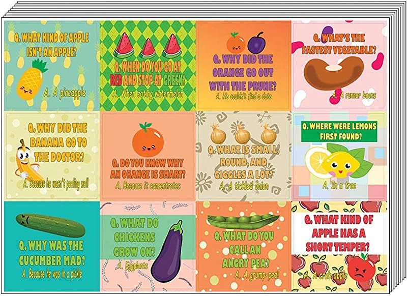 Creanoso Fruit And Vegetables Funny Jokes Stickers For Kids 10 Sheet Awesome Stocking Stuffers Gifts For Boys Girls Children Teens Wall Table Surface D Cor Decal Funny Gift Sticker Cards