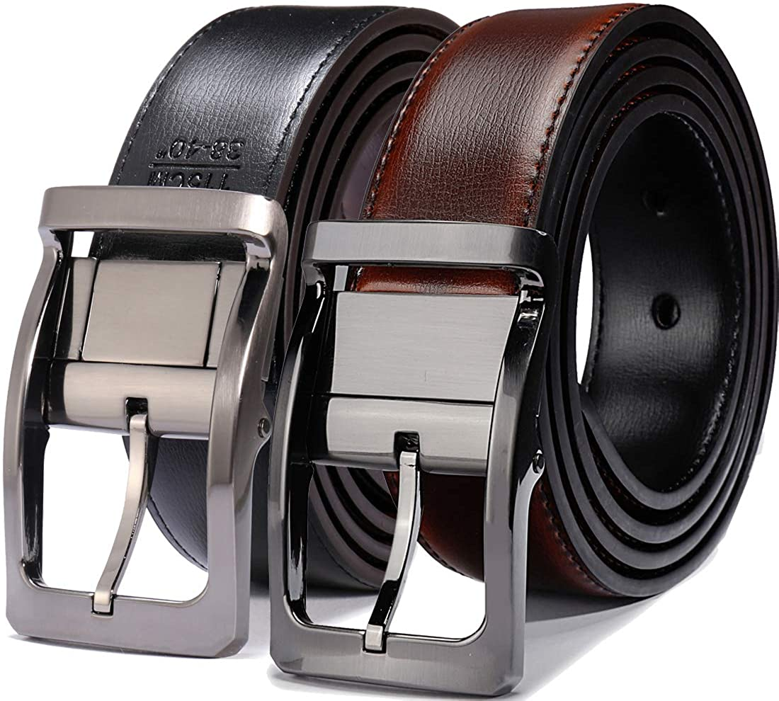 """Belts for Men Reversible Leather 1.25"""" Waist Strap Fashion Dress Buckle Beltox"""