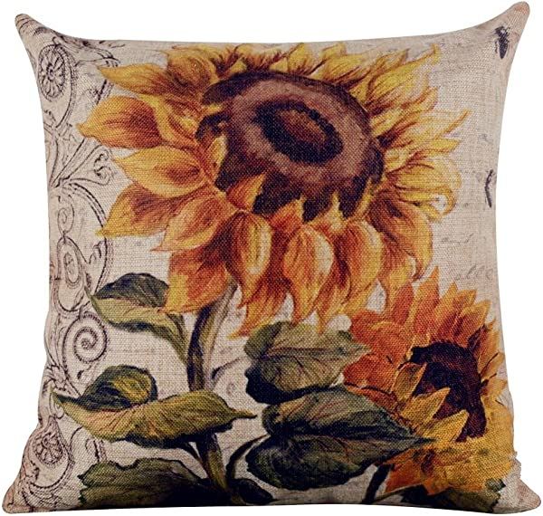 Acelive 20x20 Inches Shabby Chic Vintage Sunflower Big Burlap Cushion Covers Pillow Case For Sofa Bedroom Living Room Square Valentine S Day Gift Mother S Day Gift