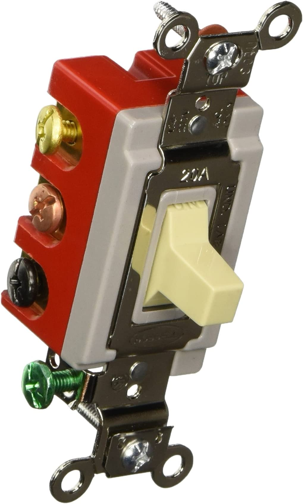 Hubbell HBL1557W Momentary Toggle Single Pole Double Throw Switch White 20 amp