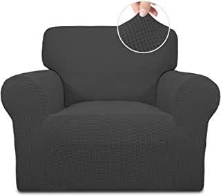 Best Easy-Going Stretch Chair Sofa Slipcover 1-Piece Couch Sofa Cover Furniture Protector Soft with Elastic Bottom for Kids,Pet. Spandex Jacquard Fabric Small Checks(Chair,Dark Gray) Reviews