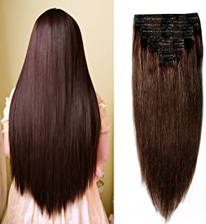"""Double Weft 100% Remy Human Hair Clip in Extensions #2 Dark Brown 10''-22'' Grade 7A Quality Full Head Thick Thickened Long Short Straight 8pcs 18clips for Women Fashion 12"""" / 12 inch 110g"""