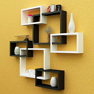 Home Design Mart MDF Rectangular Intersecting Wall Mounted Shelf Set of 6 (Standard, White & Black) with Set of 2 Dry Frui...