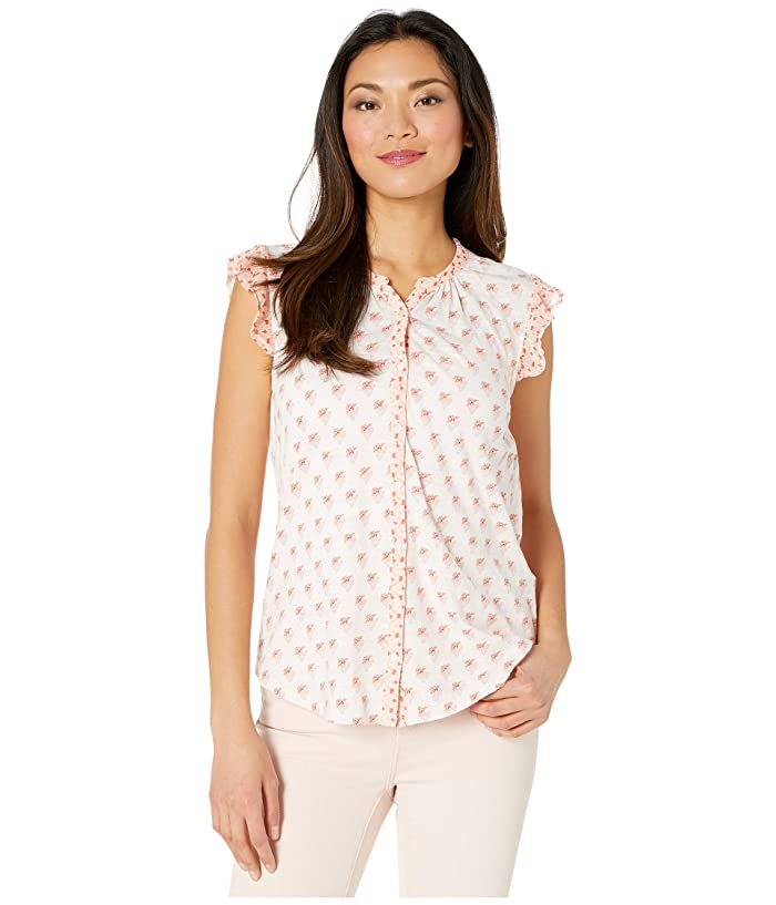 Lucky Brand  Sleeveless Button-Up Woodblock Printed Top (Peach Multi) Womens Clothing