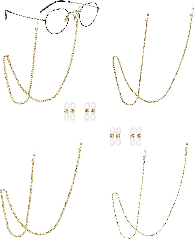 Magitaco 4 PCS Eyeglass Chain for Women Beaded Glasses Chain Lan