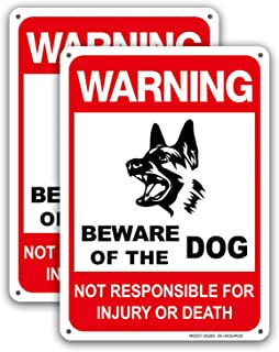 """Dog Warning Signs Beware of The Dog Aluminum Warning Sign Not Responsible for Injury Or Death 10x7"""", 2 Pack, UV Protected ..."""