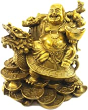 Lucky Laughing Buddha Statue Sitting on Dragon Turtle,Brass Buddhist Statues Sculptures Feng Shui Decor,God of Wealth Statue 5