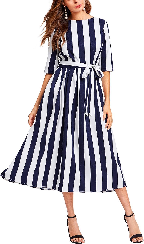 Floerns Women's Striped Print Tie Waist Midi Dress