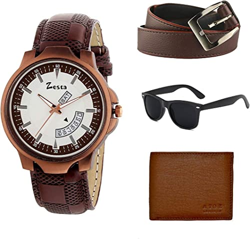 Combo Pack of a Brown Analogue Watch with a Sunglass a Wallet and a Belt for Men and Boys