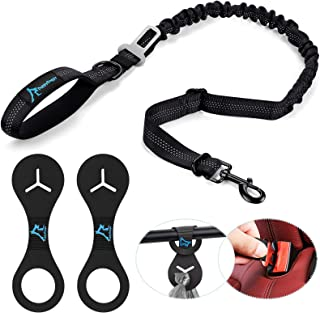 PuppyDoggy Dog Leash with Car Seat Belt Buckle 4FT Reflective for Large and Medium Dogs Durable Bungee Extension for Walki...