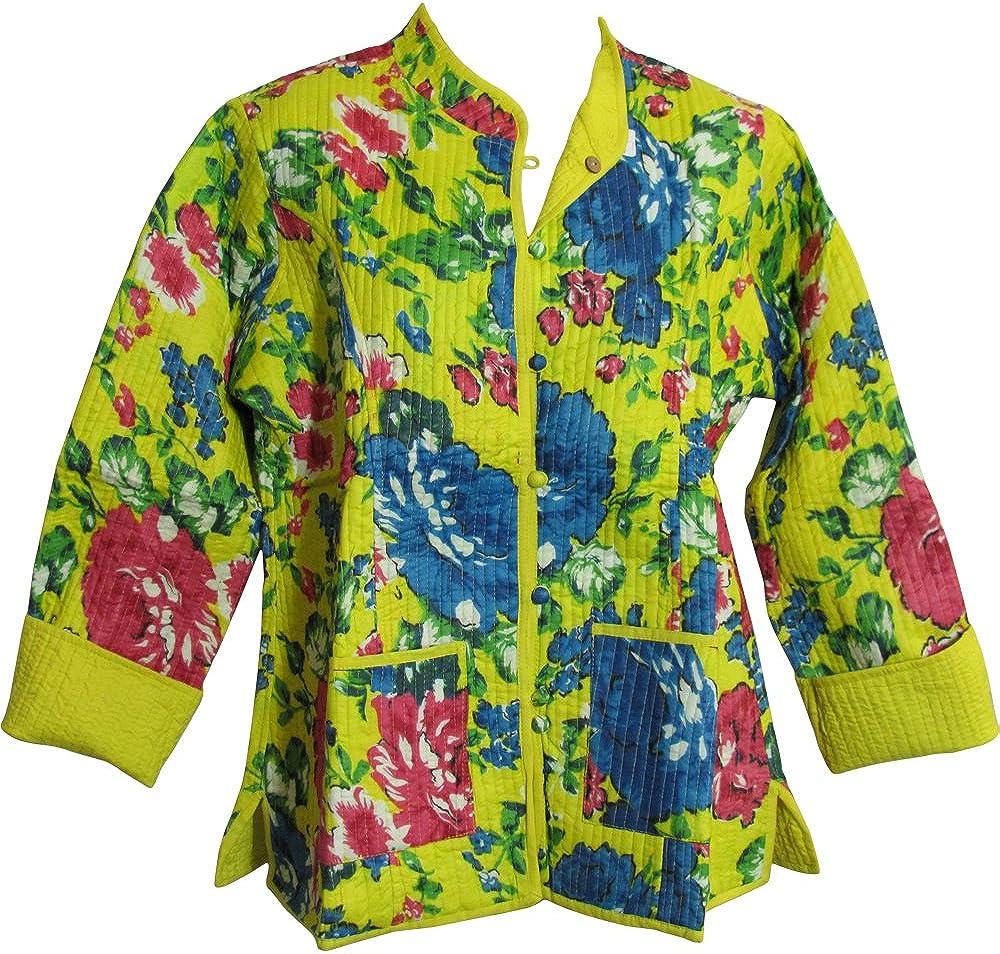 Yoga Trendz Reversible Missy Floral Quilted Cotton Outerwear Jacket Cardigan Blouse JK No16