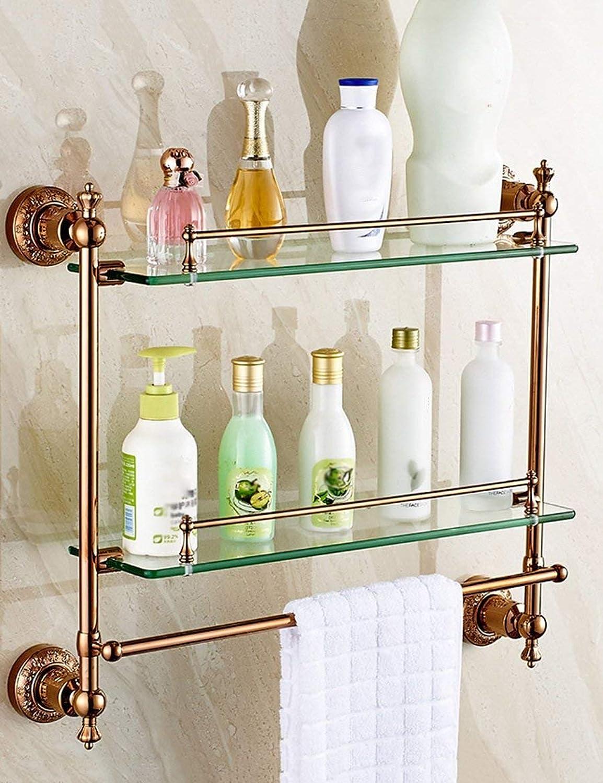 Shower Rack gold European Stainless Steel Glass Shelves Shower Shelves Wall Toilets Easy to Clean (color   3)