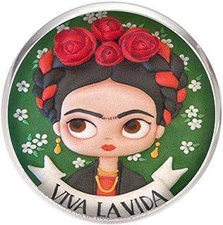Spilla con perno in acciaio inossidabile, diametro 25 mm, spillo 0,7 mm, Fatto a Mano, Illustrazione Frida Viva la Vida