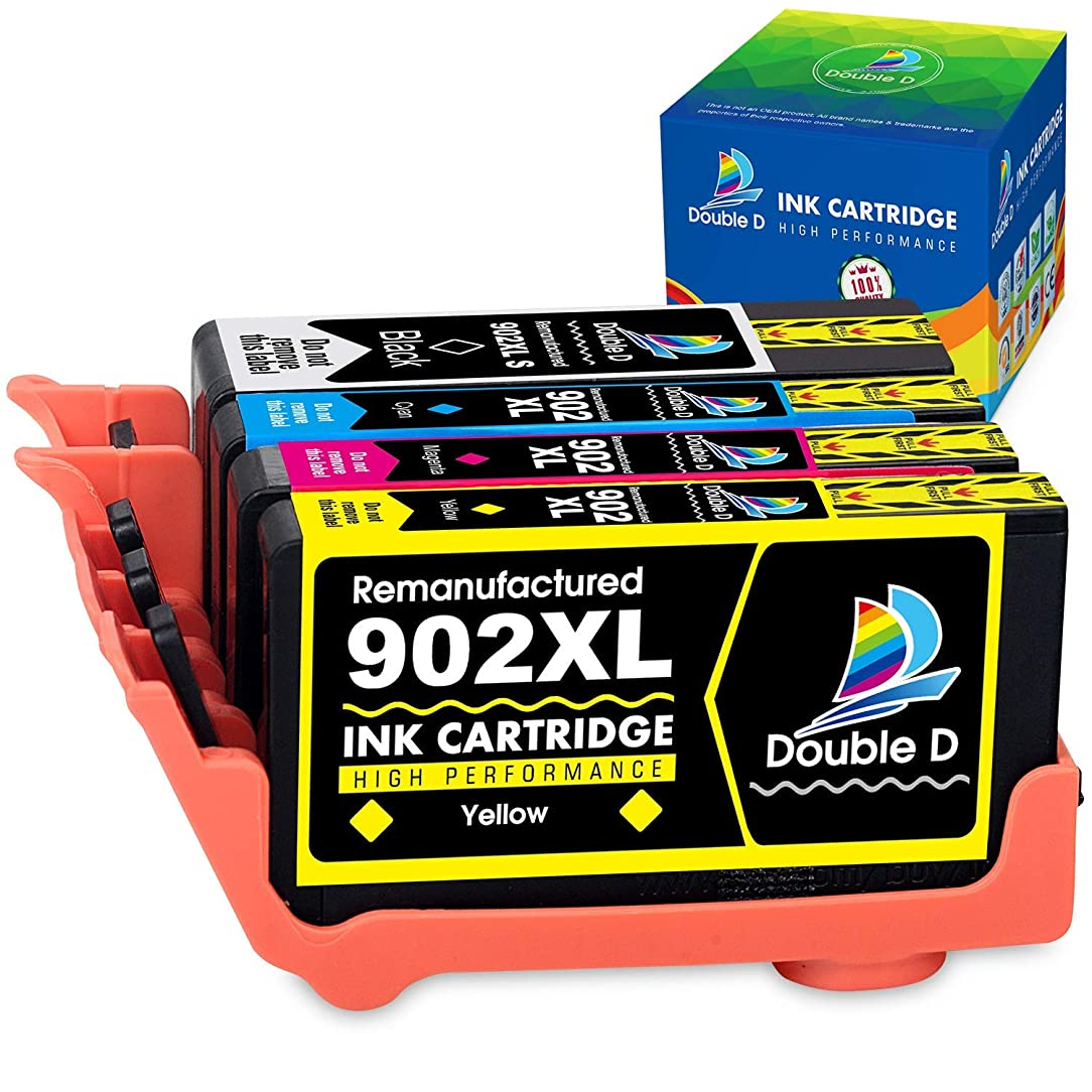 Double D (TM) Re-Manufactured Ink Cartridge Replacement for HP 902 902XL,Works with HP OfficeJet Pro 6978 6962 6968 6975 6960 6970 6950 6954 6979 6951(1 Black, 1 Cyan, 1 Yellow, 1 Magenta 4 Pack)