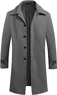 COOFANDY Men's Woollen Trench Coat Single Breasted Long Jacket Winter Overcoat