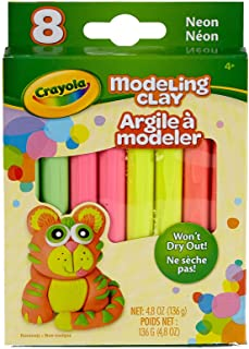 Crayola Modeling Clay, Neon Colors, Gift for Kids, Assorted Neon, 0.6 oz (CC040037)
