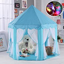 "Aubeco Blue Hexagon Play Castle Indoor Kids Play Tent Outdoor Boys & Girls Playhouse with 23ft LED Star String Lights, Birthday for Kids, 55""(Diameter)×53""( Height)"