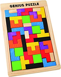 Wooden Building Blocks Puzzle Game – Pattern Tangram Tetris Jigsaw Toy Wood Box Educational Gift for Kids 40 Colorful Pcs