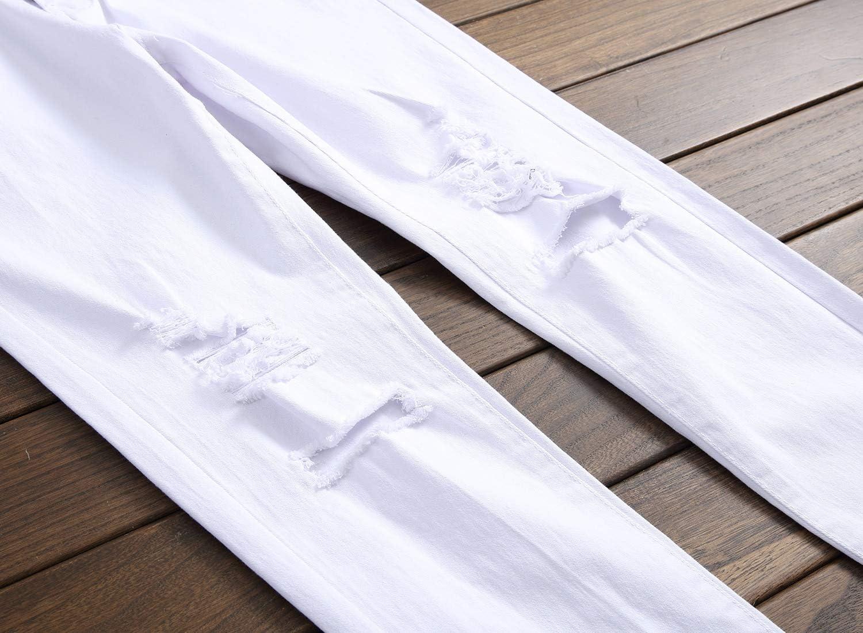 Jeans Jeans Droits Hommes Mode Denim Pantalon Patchwork Streetwear Hommes Déchiré À Glissière Jeans Grande Taille Trou Masculin Pantalon Cot 807White