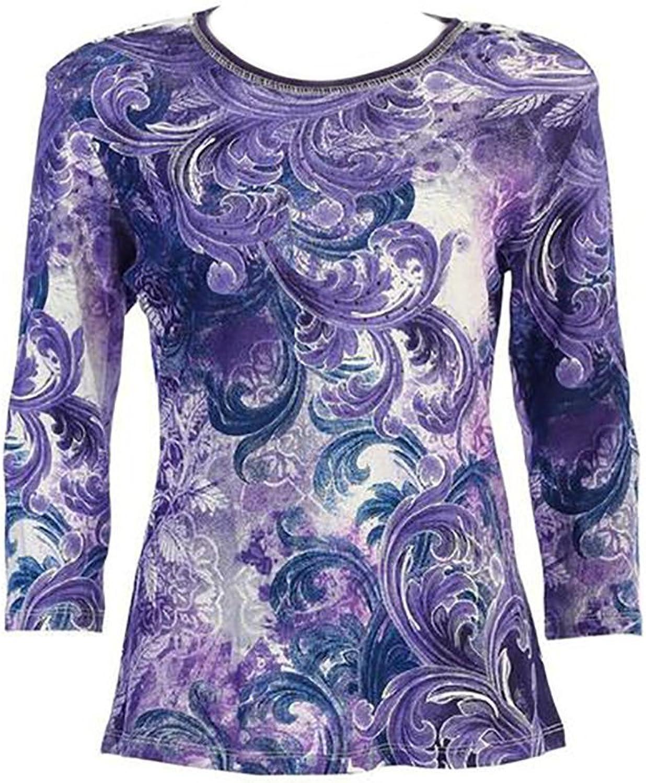 Jess & Jane Cotton Tee Shirt Purple Dream in Ivory