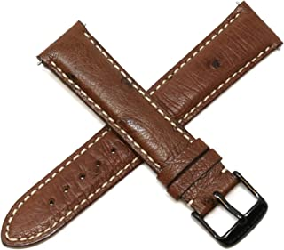 Swiss Legend 20MM Brown Ostrich Leather Watch Strap with Black Stainless Buckle fits 42mm Bellezza Watch