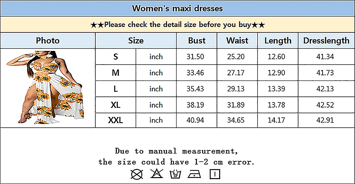 AOZZO Women Sexy 2 Piece Skirt Outfits Summer Chiffon Floral Printed Deep V Neck Strap Crop Tops Side Split Slips Maxi Dress