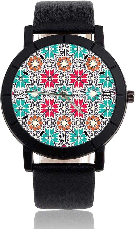 Reloj de Pulsera Oriental con diseño de Flores y Flores, Correa de Piel, Reloj Casual para Hombre