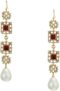 Antique Gold/Crystal/Ruby/White Pearl Fishhook Earrings