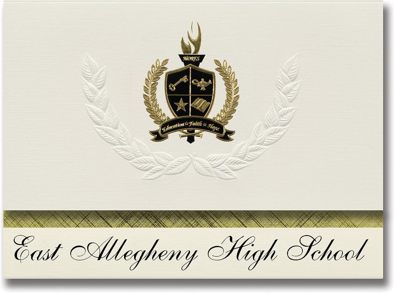 Signature Signature Signature Ankündigungen East Allegheny High School (North Versailles, PA) Graduation Ankündigungen, Presidential Elite Pack 25 mit Gold & Schwarz Metallic Folie Dichtung B078VDL5W4   | Attraktives Aussehen  e46ee7
