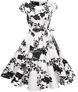 Dresses Women's Dress 1950s Vintage Retro Bridesmaid Dress Petticoat Long Sleeves Prom Swing Cocktail Dress Rockabilly Short Sleeve O Neck Evening Print Party Prom Swing Dress