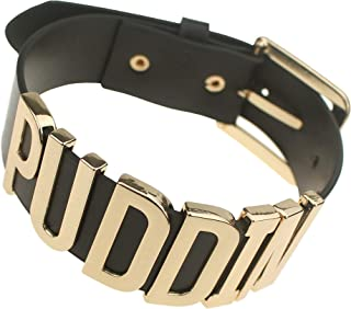 Coolcoco Adjustable Fashion High Neck Black Belt Letter Gold Puddin Choker Necklace Collar for Harley Women Girls Adult Kids Prime (About 1.2 Inch Width)