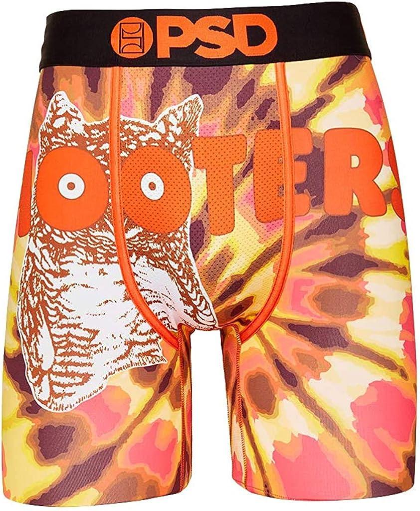 PSD Underwear Men's Hooters Tie Dye Owl Printed Boxer Brief (Black/Hooters Tie Dye Owl, XX-Large)