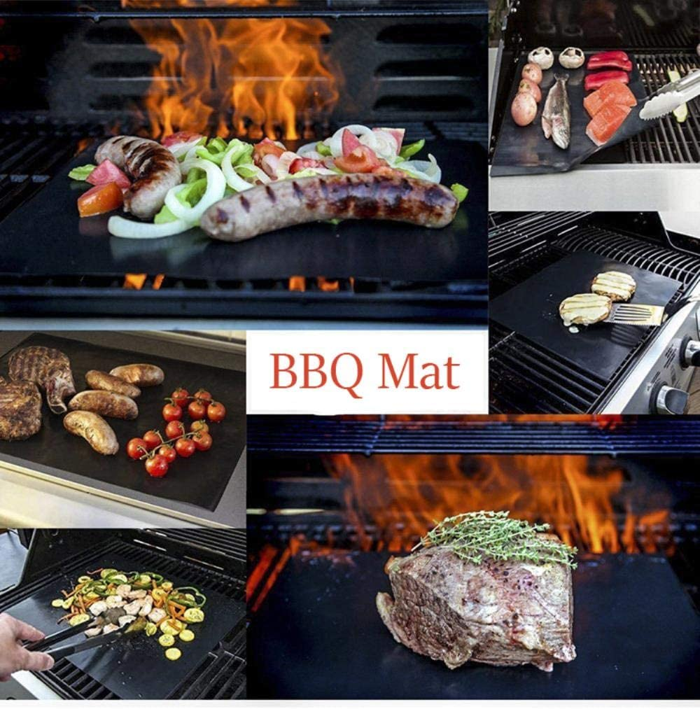Sgn Non-Stick Barbecue Mat Heat-Resistant Reusable BBQ Baking Pad Covers Foil Oilpaper with Food Clip Oil Brush BBQ Liner,black40x50cm Black40x50cm