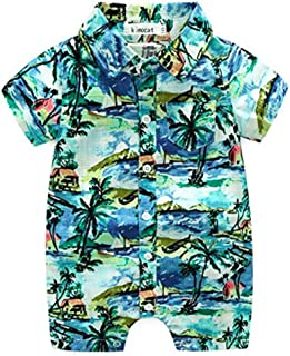 Neal LINK Newborn Toddler Baby Boys Onesie Polyester Casual Hawaiian Shirt Romper Outfits Floral Hawaiian Style