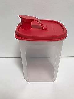Tupperware Slim Line Pitcher 1 Quart for Refrigerator Door, Sheer with Pink Seal