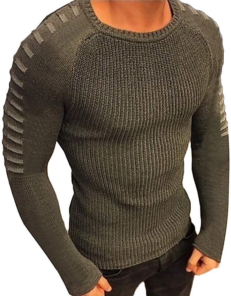 MODOQO Men's Crew Neck Sweater Slim Fit Casual Lightweight Knitted Pullover