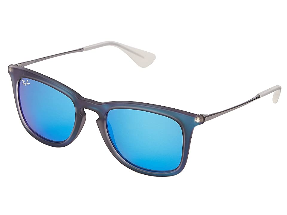 Ray-Ban RB4221 50mm (Blue Rubberized/Blue Mirror) Fashion Sunglasses
