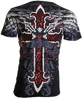 Affliction Archaic Mens T-Shirt RED Flag Cross Wings Black Biker